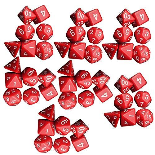 JenLn Juego de dados de 16 mm, varios lados, color rojo, juego de dados (7 juegos) de juego de dados (color: rojo, tamaño: 16 mm)