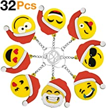 Christmas Keychains OHill 32 Pack Christmas Emoji Keychains for Christmas Kids Party Favor Supplies Xmas Goody Bag Fillers