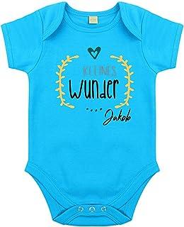 minimutz Body mit Namen | Motiv Kleines Wunder & Herz | Personalisieren & Bedrucken | für Mädchen & Jungen Kurzarm Baby-Strampler inkl. Namensdruck