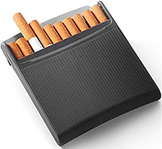 Artiart Stylish Charcoal Black Stainless Steel Cigarette Case - Can Hold 10 Cigarettes