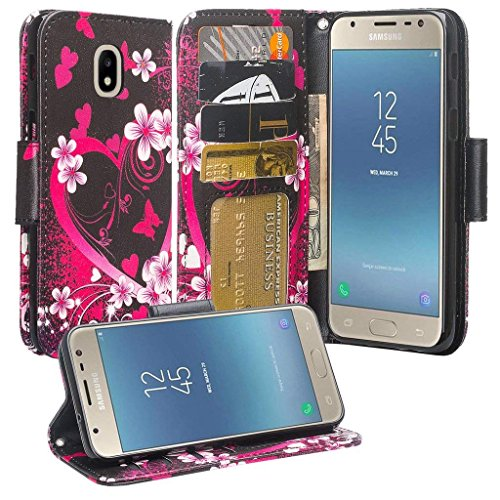 For SAMSUNG J3 2018/Galaxy Express Prime 3/J3 Star/J3 Achieve Wallet Case Phonelicious PU Leather Flip Wallet Phone Cover [Card Slot] fit J337 (Heart Sakura)