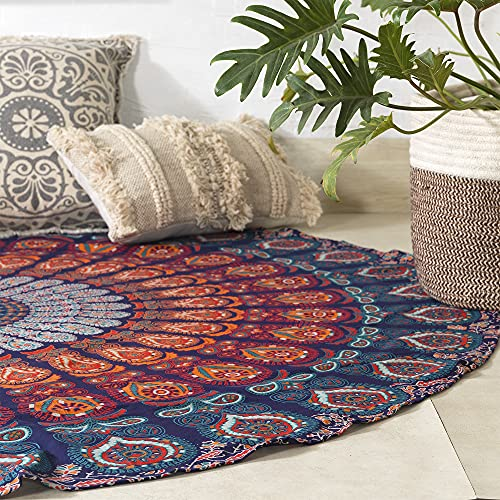 Popular Handicrafts Round tapestry Indian Mandala Round Roundie Beach Throw Tapestry wall hanging Hippy Boho Gypsy Cotton Tablecloth, Round Yoga Sheet 70 Multicolor