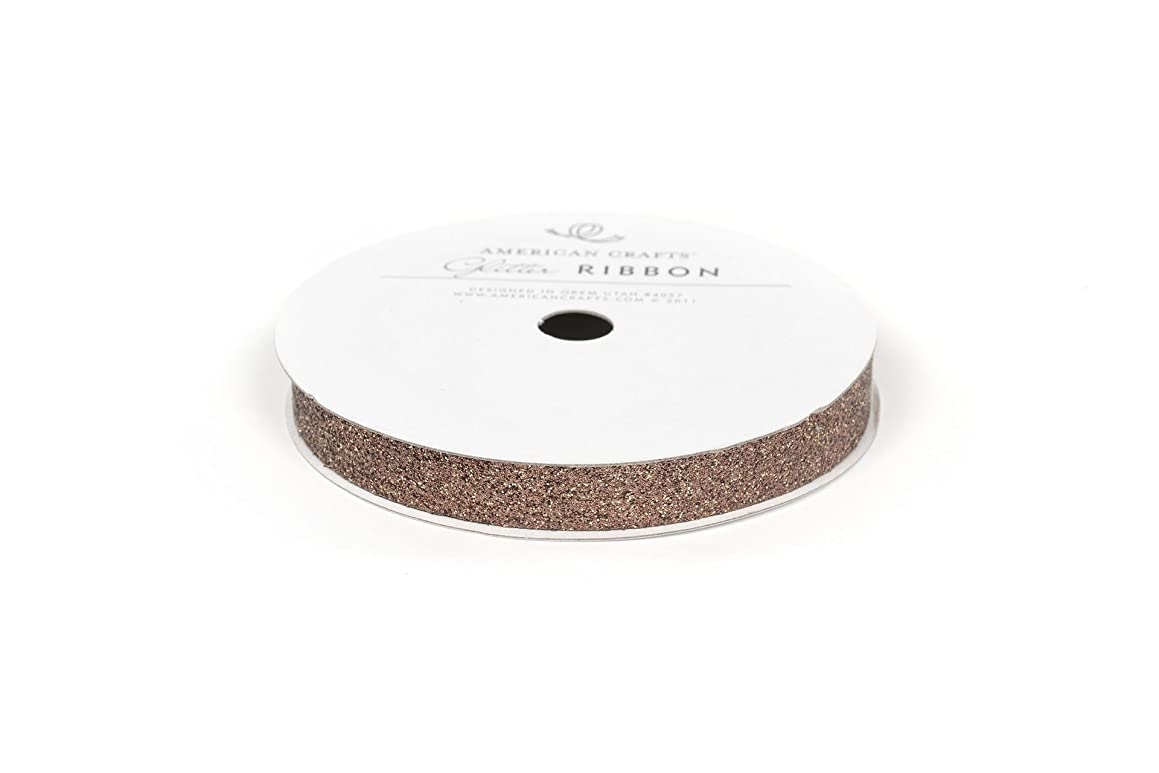 American Crafts Solid Glitter Ribbon, 3/8-Inch, Chestnut