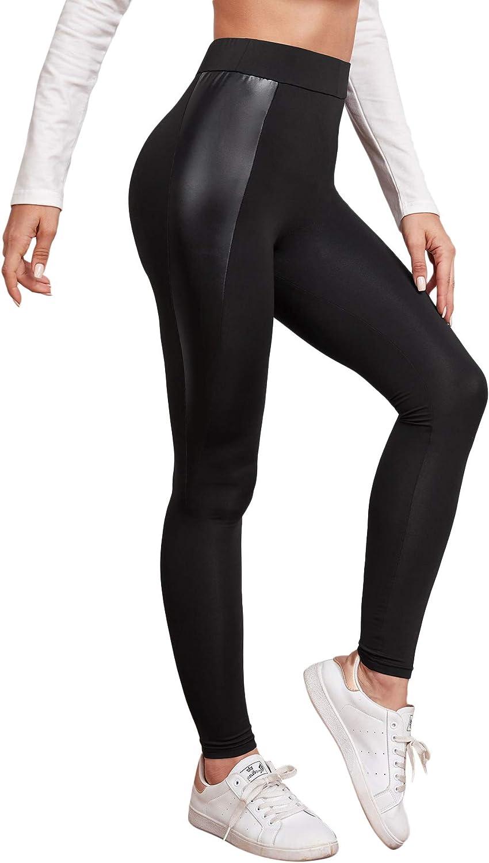 Floerns Women's High Waist Faux Leather Skinny Leggings Pants