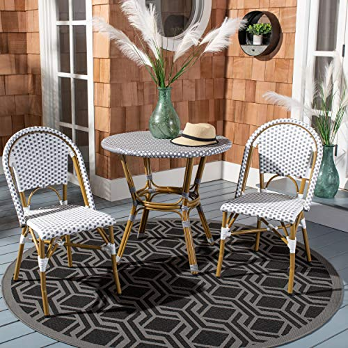 Safavieh Home Collection Hooper Indoor-Outdoor Stacking Side Chairs | Grey & White | Set of 2