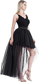 Women's High Low Mesh Net Lace Overlay Maxi Skirt