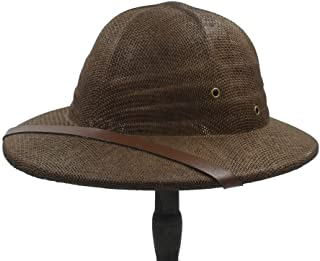 KCBYSS Straw Helmet Pith Bucket Hat for Men Hat Dad Boater Summer Sun Hats (Color : Coffee)