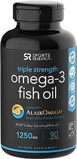 Sports Research 欧米茄 3 野生阿拉斯加深海鱼油,富含甘油三酸酯 EPA & DHA (每粒胶囊 1250 毫克) | 滋养心脏、大脑及关节 | IFOS 五星认证,非转*,不含麸质 90 Softgels 1.00