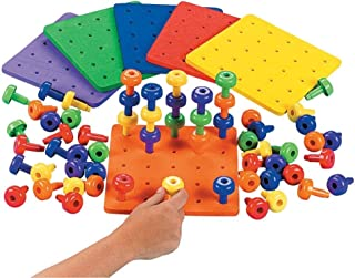 Fun Express Stack It Peg Game with Board Occupational Therapy for Austism, Various Colors, (IN-57/2146), (1 Board and 30 Pegs)
