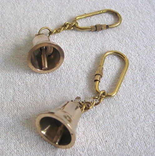 magicaldeco 2X Schlüsselanhänger- Glocke- massiv Messing- Karabiner