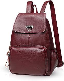 NICOLE & DORIS Damen Lederrucksack Lässiger Damenrucksack für Damen Rucksackbeutel für Damen Weinrot