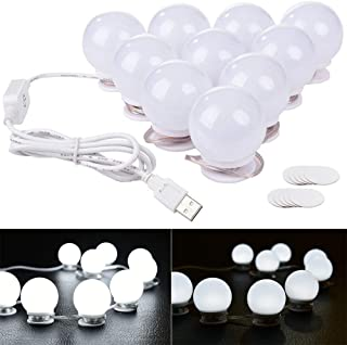 Lvyinyin 5V USB Power Vanity Lights Kit Hollywood Style Makeup LED Light Bulbs with Stickers Attached to Bathroom or Dressing Mirrors, Touch Dimmable Switch, 10 Lights, Daylight