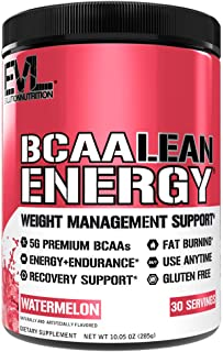Evlution Nutrition BCAA Lean Energy - Energizing Amino Acid for Muscle Building Recovery and Endurance, with a Fat Burning Formula, 30 Servings (Watermelon)