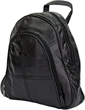 Lorenz Unisex Adult's Genuine Leather Backpack One Size Black