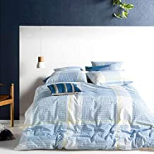 Lausonhouse Seersucker Duvet Cover Set,100% Cotton Seersucker Texture Check Bedding Set,3 Pieces(1 Duvet Cover with 2 Pill...
