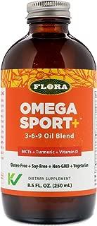 Flora Omega Sport+ 3-6-9 Oil Blend 8.5 oz Small - MCT + Turmeric + Vitamin D - Vegetarian