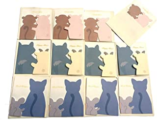 Merry Christmas Greeting Cards, Lovely Cartoon Creative Cat & Mice, Monkey & Pig, Wolf & Sheep Card- 12 Cards & Envelopes, Best Gift Cards for Kids, Families, Friends, Colleague