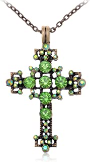 Alilang Vintage Inspired Tone Green Synthetic Peridot Rhinestone Crystal Bubble Holy Cross Pendant Necklace
