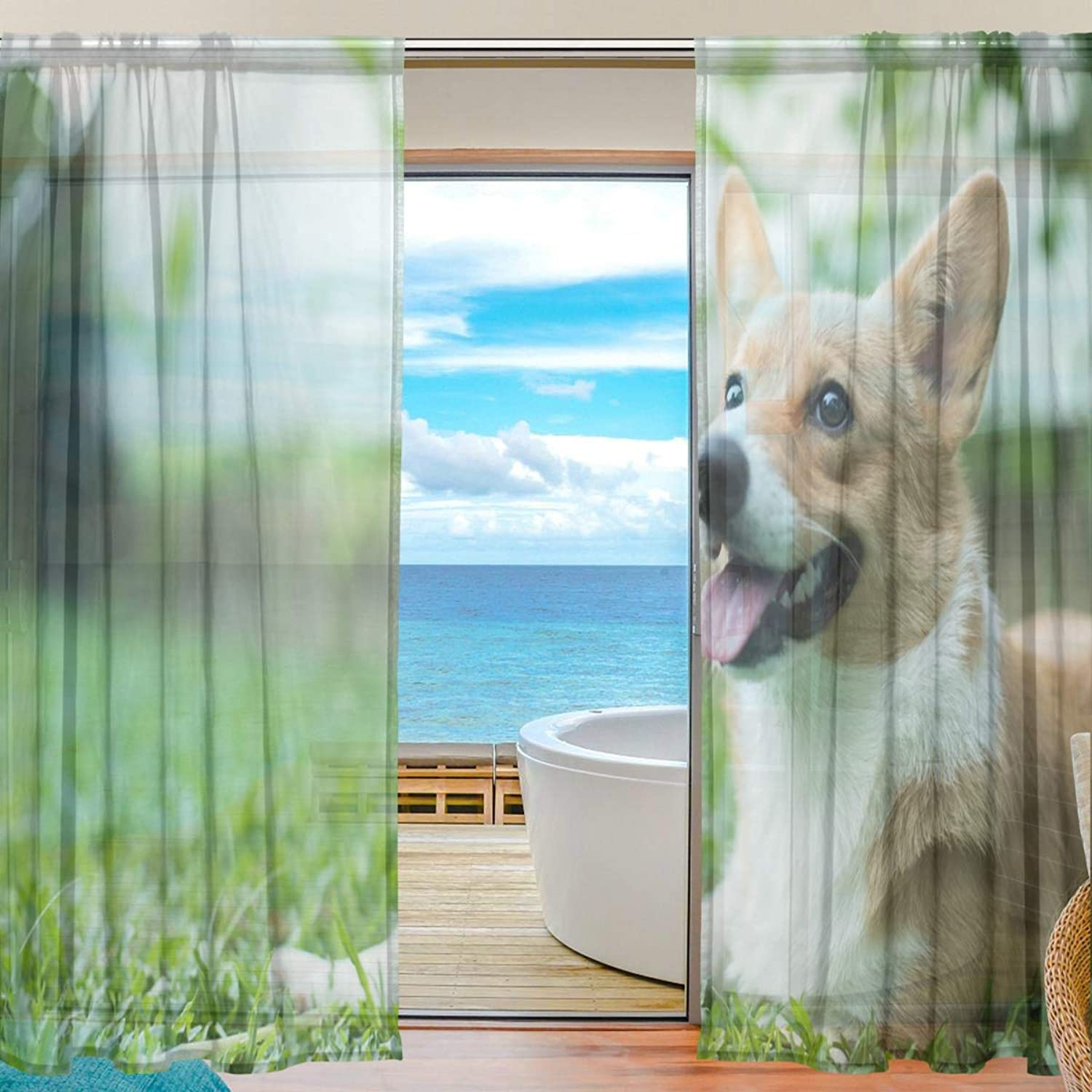 Cute Corgi 2 Pieces Curtain Panel 55 x 78 inches for Bedroom Living Room