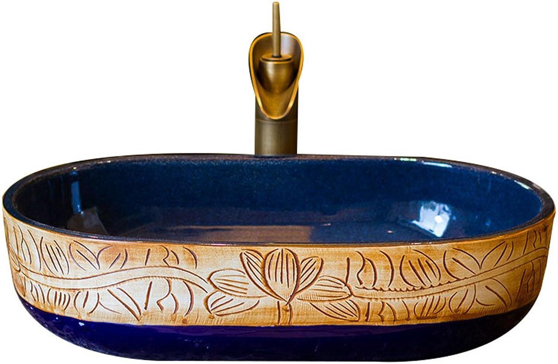Badezimmer Keramik Kunst Becken Oval Waschbecken Vintage Waschbecken Home Basin Counter Basin