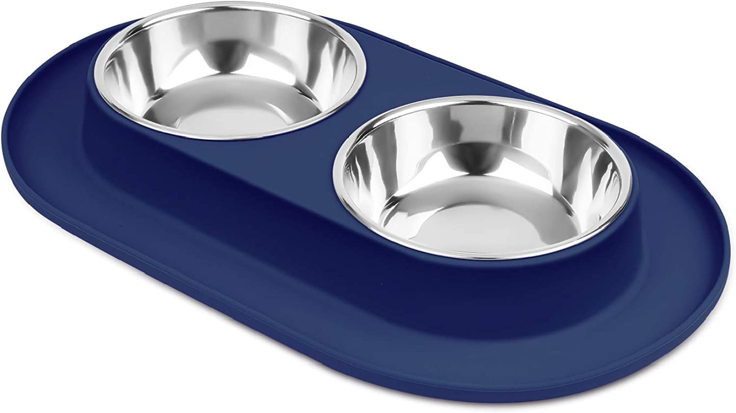 Flexzion Double Dog Bowl Feeding Station, Skid Proof Silicone Base with Spill Proof Raised Lip & Two 12oz Stainless Steel Bowls for Food and Water, Ideal for Small to Medium Size Dogs Cats Pet, bluee