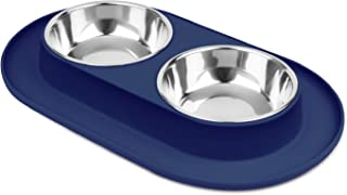 Flexzion Double Dog Bowl Feeding Station, Skid Proof Silicone Base with Spill Proof Raised Lip & Two Stainless Steel Bowls for Food and Water, Ideal for Small to Medium Size Dogs Cats Pet