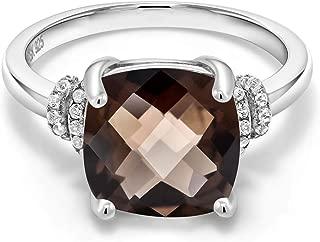 925 Sterling Silver Brown Smoky Quartz Women Ring (3.36 Ct Cushion Checkerboard)