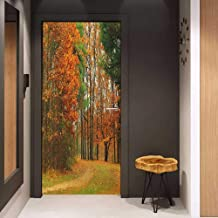 Toilet Door Sticker Fall Cloudy Overcast Day in September Shrubs Pines Sidewalk in The Park Forest Glass Film for Home Office W38.5 x H77 Orange Green Brown