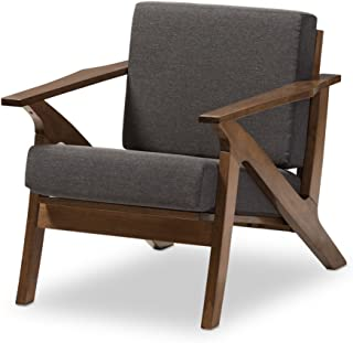 Baxton Studio Cayla Lounge Chair Grey/Walnut Brown/Mid-Century