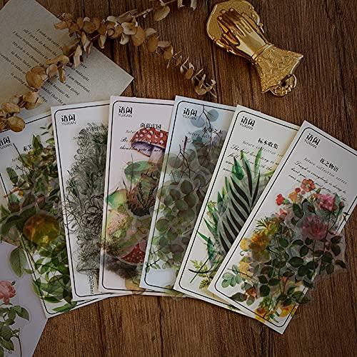 240 Stück Vintage Scrapbook Sticker,Blumen und Pflanzen Serie PET Transparente dekorative Sticker,Vintage Sticker Set für Bullet Journals,Laptop,Album,DIY Crafts