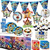 Toy Game Story Party Dessert Set, 9 + 7 Inch Cake paper Plates, Toy Game Story Forks, Tablecover, Napkins, Banner, Candy Bags, Cake Topper, Cupcake Toppers, Balloons and Tattoos, Toy Game Story Birthady Party Supplies for Kids/Baby Shower/Birthday