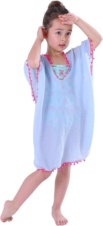 MissShorthair Girls Swim Cover Up Beach Swimwear Coverup Swimsuit Wraps with Pom Pom Trim: Clothing, Shoes & Jewelry