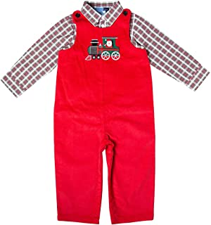 Good Lad Newborn/Infant Boy Red Corduroy Overall Set with Train Applique