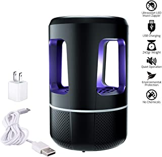 Indoor Electronic Insect Killer, LED Trap Light - Safe Chemical-Free UV Physical Mosquito Lamp, USB Powered Vortex Suction Super Silent, Eliminates Most Flying Pests for Home/Residential/Commercia