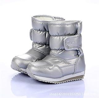 Fancyww Boys Girls Outdoor Waterproof Snowflake Pattern Winter Snow Boots Toddler Kids Warm Fur Booties