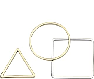 Monrocco 30 Pcs 18K Gold Plated Beading Hoop Earring Finding with 3 Shape, Geometric Pendant Connector Charms for Earrings Necklace Bracelet Jewelry Making (Triangle & Square & Circle)