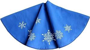 Gireshome 127cm Flocon de neige à broder Bleu polaire Jupe de sapin de Noël Décoration d'arbre de Noël Merry Christmas Fournitures Décoration de Noël