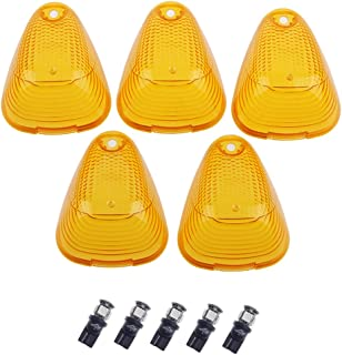 HERCOO LED Roof Lights Lenses Amber Cab Marker Clearance Running Compatible with 1999-2016 Ford Super Duty F250 F350 F450 F550 Aftermarket Replacement