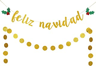 Gold Glittery Feliz Navidad Banner and Gold Glittery Circle Dots Garland- Christmas Holiday Party Decorations,Winter Mantle Home Decor,Santa Festive Party Decor