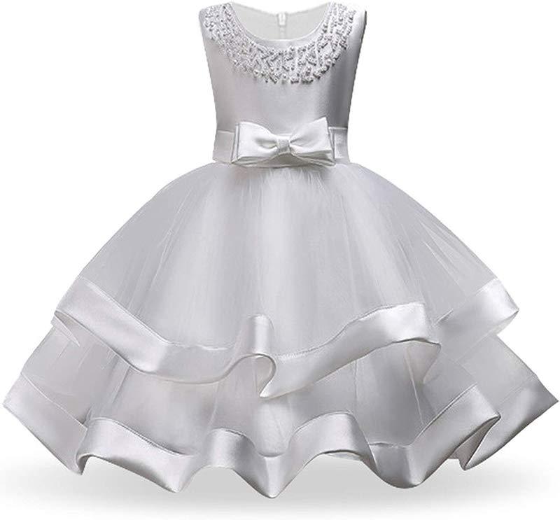 Kids Dresses For Girls Tutu Princess Children Evening Party Dresses Flower Girls Wedding Dress 3 4 5 6 7 8 Year White 5