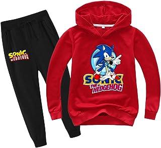 SUPFANS Sudadera y pantalones de chándal para niños Sonic The Hedgehog