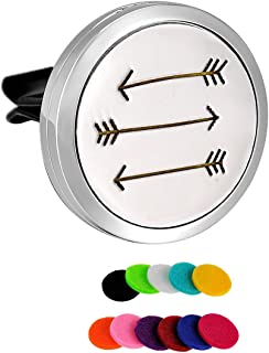HooAMI Car Air Freshener Aromatherapy Essential Oil Diffuser - Love Arrow 316L Surgical Stainless Steel Locket with Vent Clip