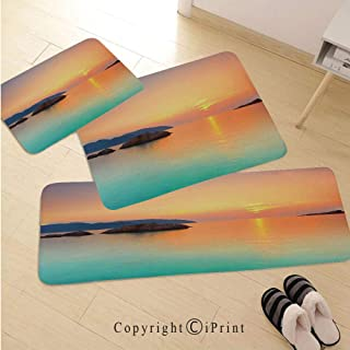 Seaside Decor 3D Non-Slip Kitchen Mat Runner Rug Set,3pc Kitchen Rug Set,Magical Sunrise Over The Sea in Con Dao Vietnam Colorful Sky Reflection on Sea Horizon,for Entryway Kitchen and Bedroom,