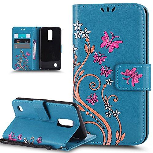 Kompatibel mit LG K4 (2017) Hülle,LG K4 (2017) Schutzhülle,Bunte Gemalt Prägung Schmetterlings Blumen PU Lederhülle Flip Hülle Cover Ständer Etui Wallet Tasche Hülle Schutzhülle für LG K4 (2017),Blau