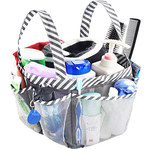 Haundry Mesh Shower Caddy Tote,Portable College Dorm Bathroom Tote,Quick Hold for Camp Gym,8 Basket Pockets with Key Hook and 2 Oxford Handles Gray