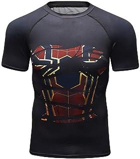 Short Sleeve Infinity War Iron Man Mens Superhero Compression Workout Shirt