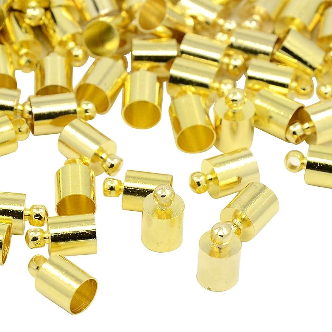 NBEADS 500Pcs Brass Cord Ends, Golden, 10x6mm, Hole: 1.2mm; 5.5mm Inner Diameter