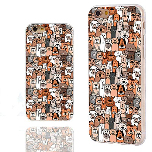 CHICHIC iPhone 6s Case Cute,iPhone 6 Case Cool,Full Protective Slim Flexible Soft TPU Rubber Clear Cases with Design for iPhone 6s 6 4.7 Inch,Cartoon Animal pet Cute Brown Dogs and Cats Smile