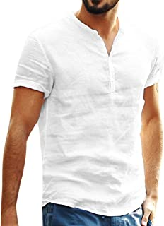 Men's Cotton Linen T Shirts Short Sleeve Slim Fit Retro V Neck Button Up Tee Tops Blouse
