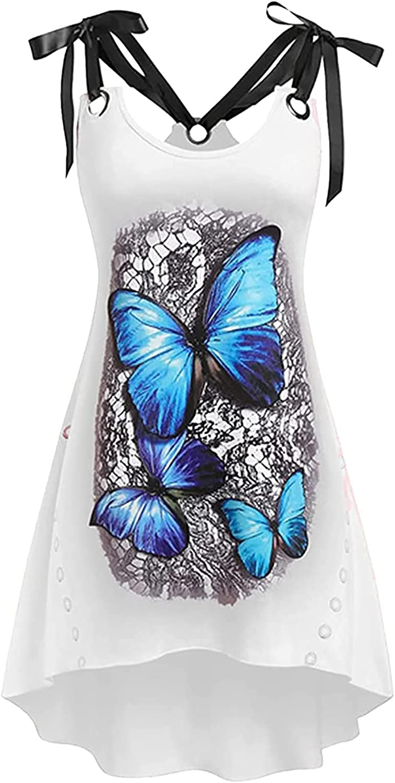 Women's Vest Dress Floral Skirt Fashion Butterfly Prined O-Neck Knee-Length Loose Suspender Beach Mini Dress